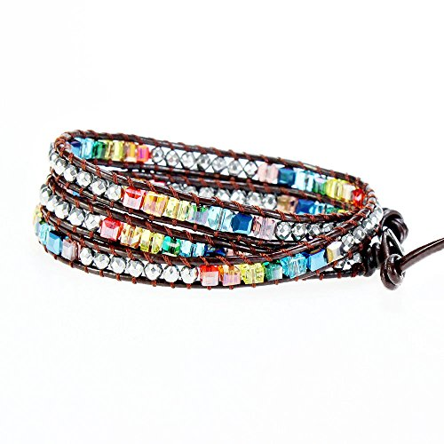 YHY Handmade Multicolour 7 Chakra Balancing Crystal Bead with Hematite Stone Wrap around Leather Bracelet for Women Adjustable - Magnetic Hematite Wrap Bracelet