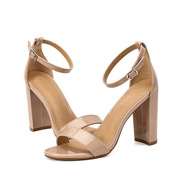 0bac4d3d5b01 Moda Chics Women s High Chunky Block Heel Pump Dress Sandals ...