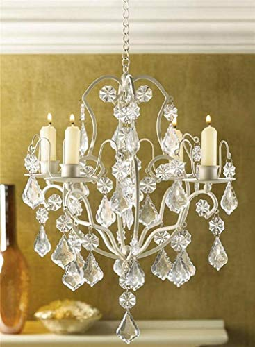 AK Energy 4 Plate Candle Holder Ivory Baroque Hanging Acrylic Crystal Chandelier Light Wedding 30