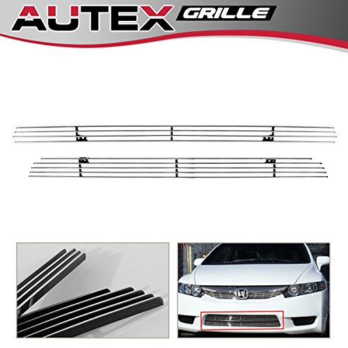 Honda Civic Billet Grilles - AUTEX Polished Lower Bumper Billet Grille Insert Compatible With Honda Civic 2009 2010 2011 Grill H66768A (Only Compatible With Honda Civic Sedan& Hybrid Sedan)