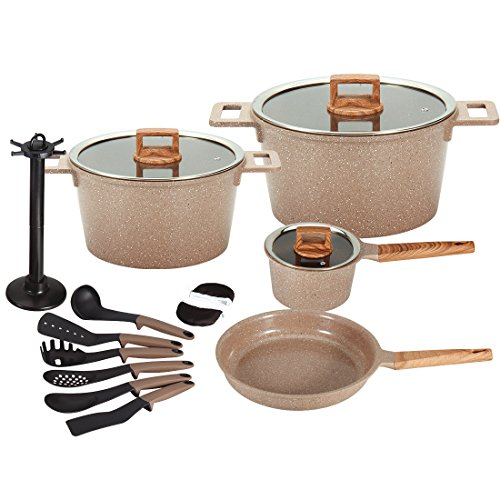 Ceramic Cookware Set Dishwasher Safe Scratch Resistant PFOA Free Nonstick Induction Kitchen Aluminum Cookware Set with Cooking Utensil Pack -16 (BROWN)