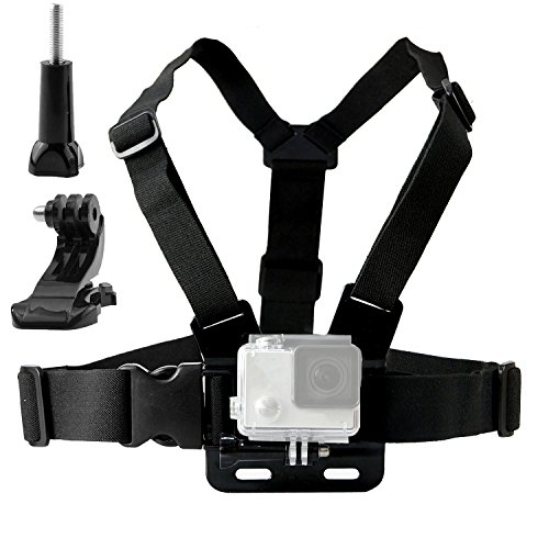 Harness Action (TEKCAM Adjustable Chest Harness Mount with J Hook Compatible with Gopro Hero 7 6/AKASO/Apeman/DBPOWER/WIMIUS/Campark/VanTop/Dragon Touch 4k Action Sports Cameras Accessories (Camera Not Included))