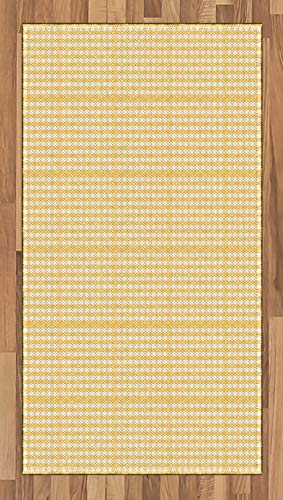 Ambesonne Vintage Yellow Area Rug, Gingham Pattern with Bicolor Checkered Squares with Heart Motifs, Flat Woven Accent Rug for Living Room Bedroom Dining Room, 2.6' x 5', Mustard and White