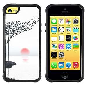 Suave TPU Caso Carcasa de Caucho Funda para Apple Iphone 5C / Art Leaves Birds Black White Red Sun / STRONG