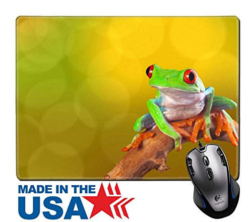 "Feeding Tree Frogs - MSD Natural Rubber Mouse Pad/Mat with Stitched Edges 9.8"" x 7.9"" Red eyed tree frog from Costa Rica rain forest Beautiful tropical treefrog on a bright background with copy space Exotic rainforest ani"