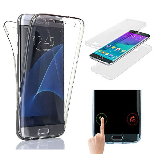 for Samsung Galaxy S6 Edge Case,Ultra Slim Clear TPU Silicone 2in1 Shockproof Cover,360 Full Protective[Front and Back] Rubber Gel Transparent Touch Case Cover for Samsung Galaxy S6 Edge