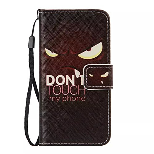 iPhone 6 / 6S 4.7 inch Coque , Apple iPhone 6 / 6S 4.7 inch Coque Lifetrut® [ Don't Touch My Phone ] [Porte] [Card Slot] Pu cuir flip stand Wallet Case antichoc anti-rayures de couverture Avec sangle