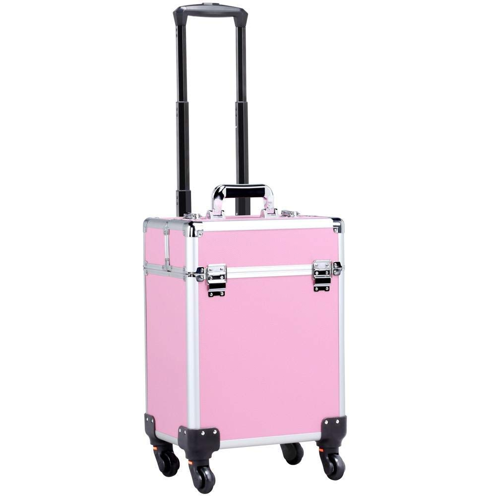 Kanstar Aluminum Portable Cosmetic Beauty Hairdressing Makeup Box Case Storage Trolley Pink