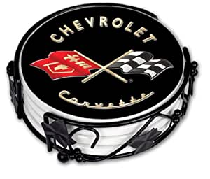 "Art Plates ""Corvette Black Flags"" Ceramic Drink Coaster Set"