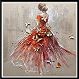 (US) Red Skirt Dancer Diamond Painting,Pausseo 5D DIY Cat Home Decor Cross Stitch Embroidery Rhinestone Pasted Drawing Set for Adults,1 Embroidered Cloth,1 Tray,1 Pen Tool,1 Diamond Bead,30X30cm