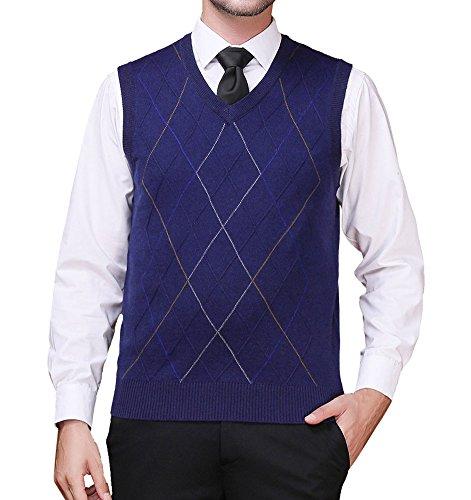 Zicac Men's Pullover Sweater Vest V-Neck Knitted Waistcoat Argyle Sleeveless Sweater Business Knitwear (L, Navy (V-neck Vest Pattern)