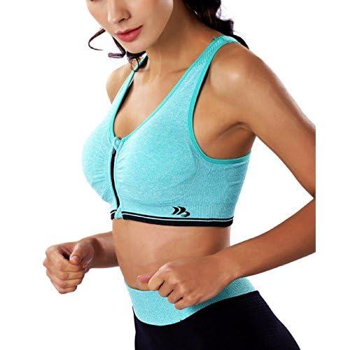940960561e15c well-wreapped BRABIC Womens Sport Bras Zipper Padded High Impact Support  Seamless Racerback