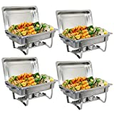 ZenChef 8 Qt Stainless Steel Chafer, Full Size Chafer, Chafing Dish w/ Water Pan, Food Pan, Alcohol Furnace and Lid (Pack of 4)