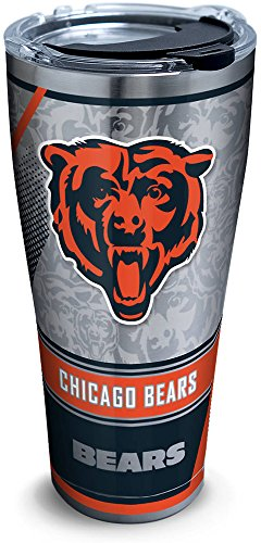 Tervis 1266032 NFL Chicago Bears Edge Stainless Steel Tumbler with Clear and Black Hammer Lid 30oz, Silver