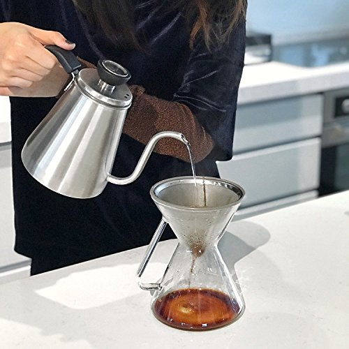 Pour Over Coffee Maker with Paperless Filter - Premium Carafe Brew Set with Stainless Steel Dripper, Precision Measuring Cup - Pourover Brewing For The Home Brewer – 0.5L / 17oz by ovalware (Image #4)
