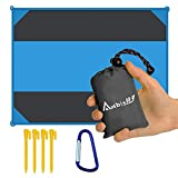 """Ambielly Beach Blanket Waterproof Sand-proof Outdoor Blanket Portable Oversized <84.6""""x63""""> Picnic Mat for Travel,Camping,Hiking,Beach and Music Festivals"""