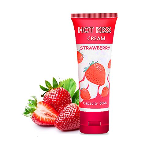 Cream Lubricant - 100mL (3.6ounce) Natural Edible Sweet Personal Strawberry-Flavour Fruit Jelly Water-Based Massage Lubricant Lube Gel Oil Cream for Oral Women Male Female