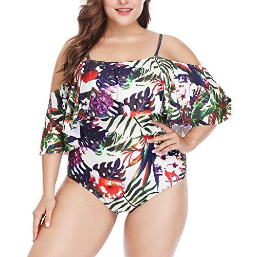 ize Ruffle Flounce Off Shoulder Swimwear Printed One Piece Swimsuits ()