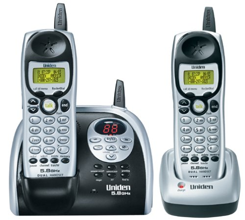 Uniden DXAI5188-2 5.8 GHz Analog Cordless Phone with Dual Handsets, Digital Answering System, and Caller ID - Cordless Id Phone Ghz Caller