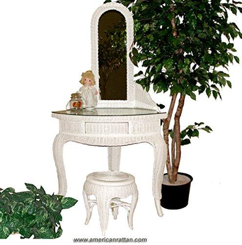 White Wicker Corner Vanity Set with Desk, Mirror, and Stool (Set Dresser Rattan)