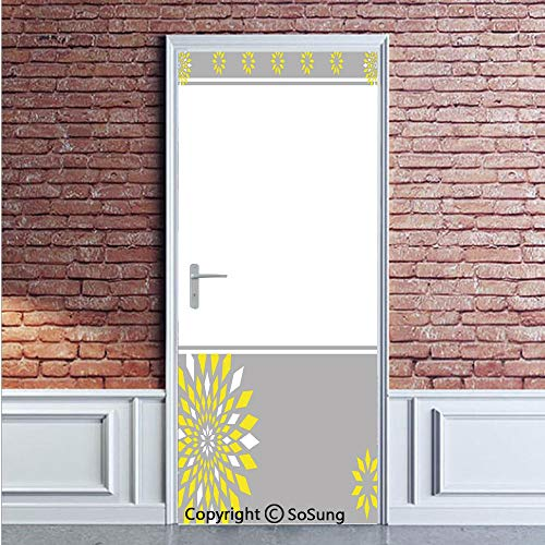 Barbie Wallpaper Border - Grey and Yellow Door Wall Mural Wallpaper Stickers,Modern Futuristic Border with Geometric Flower Frame,Vinyl Removable 3D Decals 35.4x78.7/2 Pieces set,for Home Decor Light Grey White and Marigold