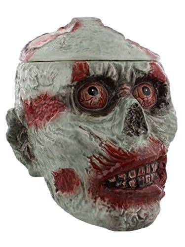 7.75 Inch Zombie Skeleton Skull Ceramic Cookie Jar Statue Figurine -