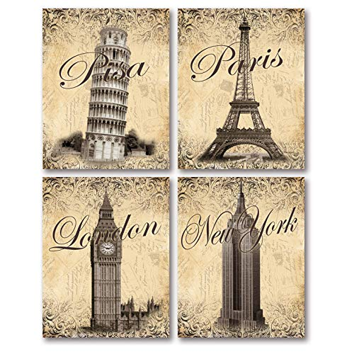 Gango Home D cor Trendy Monument Postcard Travel Prints Paris, New York, London, Pisa Four 8x10in MDF Mounted Prints