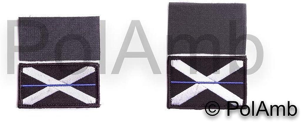 Fina Azul Línea Escocés Policía Union Jack Gancho + Lazo Base Parche (GB Escocia Insignia Insignia) Juego: Amazon.es: Ropa y accesorios