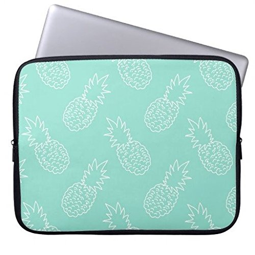 84df5b388835 Buteri 13 Inch Neoprene Laptop Bag Cover Case Compatible MacBook  Air/MacBook Pro- Mint Green and White Pineapple Patterns