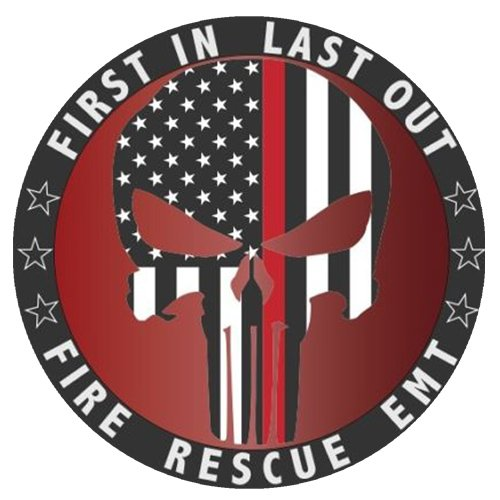 """NEW Punisher Fire Rescue EMT Red Line American Flag 4"""" Car Truck Window Cup Laptop Decal - Wooden Fender"""