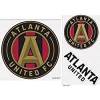 fan products of WinCraft Bundle 3 Items: Atlanta United FC 1 Outdoor Decal 7.38 inches round and 2 Small Outdoor Decals on One Sheet