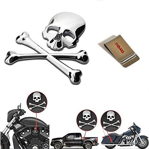 E'Plaza Car 3D Crossbones Skull Demon Bone Metal Logo Emblem Badge Decals Stickers for Auto, Motorcycle, Jeep, Chopper, Sport Bike, Suzuki, Kawasaki, Harley, Yamaha, Honda, Dodge, Ford, Toyota (silver)