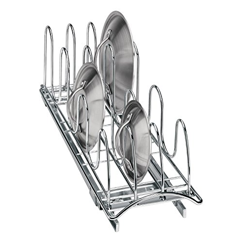 Lynk Professional Roll Out Pan Lid Holder and Pull Out Kitchen Cabinet Organizer Rack, 7.25w x 21d x 9h-inch, Chrome (Lid Rack Pan)