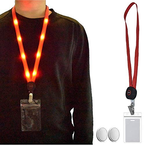 LED Light Up Flashing Lanyard Neck Straps Band Necklace Make You Being Seen and Charming at Night 3 Modes, Long-Lasting, Quick Flashing, Slow Flashing for ID Cards Badges Business ID (1 Pack-Red) (Strap Lanyard Neck Flashing)