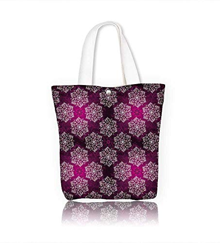 - Canvas Tote Bags Vintage purple seamless with white filigree lacy white circles Design Your Own Party Favor Pack Tote Canvas W22xH15.7xD7 INCH