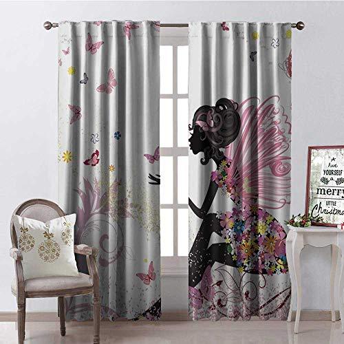 Hengshu Cartoon Butterfly African Woman Window Curtain Drape Customized Curtains W72 x L84