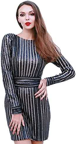ac5fd1dc22a7 Miss ord Missord Women's Sexy O-Neck Long Sleeve Sequin Belt Rope Mini Dress