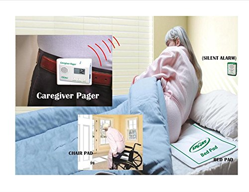 - Bed & Chair Alarm System with Wireless Pager, Ideal for Low Weight Patient - 2 Monitors