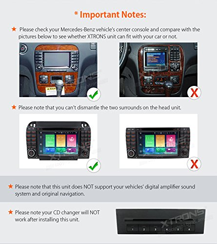 XTRONS Android 6.0 Octa-Core 64Bit 7 Inch Capacitive Touch Screen Car Stereo Radio DVD Player GPS CANbus Screen Mirroring Function OBD2 Tire Pressure Monitoring for Mercedes-Benz S-Class W220 by XTRONS (Image #3)