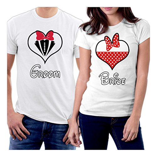 picontshirt Groom and Bride Hearth Suit Couple T-Shirts Men S/Women XL White (Tee And Golden Plug Play)
