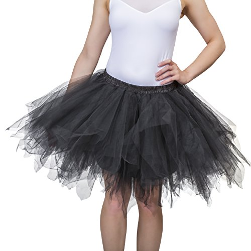 Dancina Women's Adult Vintage Petticoat Tulle Tutu Skirt [Sticker XXL],Black,Plus Size