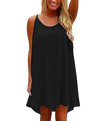68696fa4b5 VYNCS Womens Summer Casual Sundress Chiffon Beach Cover up Spaghetti Strap  Sleeveless Tank Dress (Black