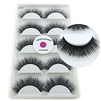 9e4e409b1be Amazon.com : 100% Siberian Mink Fur 3D False Eyelash LASGOOS Degisn Luxurious  Natural Messy Volume Dramatic Look Fluffy Thick Hot Fake Eyelashes 5 Pairs/ Box ...