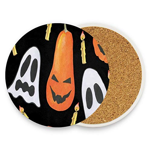 Painting Halloween Ghost Pumpkin Coasters, Prevent Furniture From Dirty And Scratched, Round Wood Coasters Set Suitable For Kinds Of Mugs And Cups, Living Room Decorations Gift Set Of 2