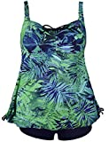Septangle Women's Plus Size Bathing Suits Paisley Print Two Piece Swimsuit (Green Leaf, US 16)