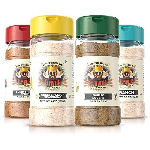 #1 Best-Selling 5oz. Flavor God Seasonings - Gluten Free, Low Sodium, Paleo, Vegan, No MSG (Popcorn Pack, 4 Bottles) … (4 Seasonings God)