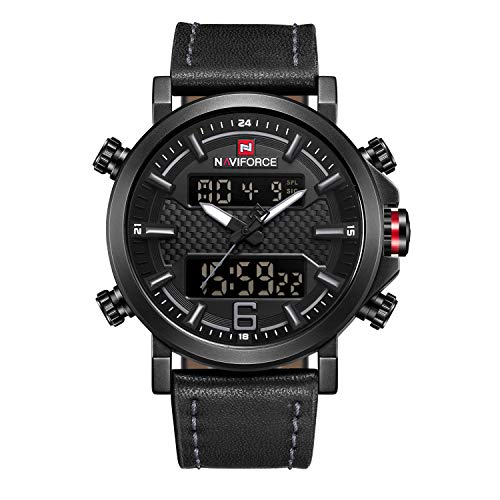 NAVIFORCE Men Sport Dual Display Watch Casual Analog Digital Black Chronograph Wristwatch Waterproof