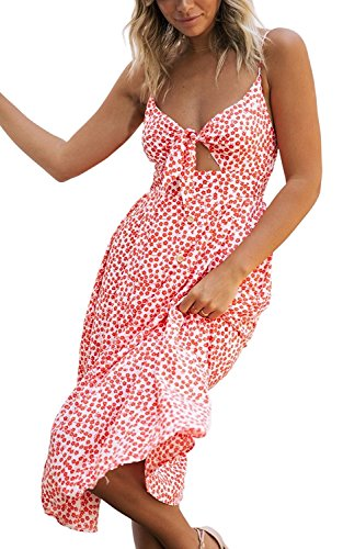 (Poptem Womens Sexy Midi Dresses Tie Front V-Neck Spaghetti Strap Button Down A-Line Backless Swing Summer Beach Sundresses,Red 2,Small)