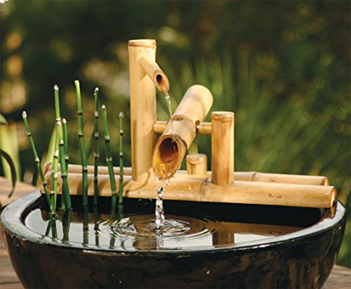 Bamboo Accents Zen Garden Water Fountain Spout, 7.5 Inch Shishi Odoshi Rocking, Includes Submersible Pump Kit