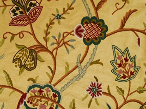 The Delicate Stitch: Hand Embroidered 100% Wool on a Beige Silk Velvet Background. Reds, Beige, and Earth Tone Embroidery. Classis Kasmir Lotus Flower Design. Ships from The US for Prompt Delivery.